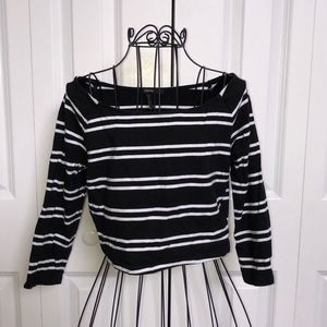Forever 21 Size M 3/4 Sleeve Stripe Crop Top